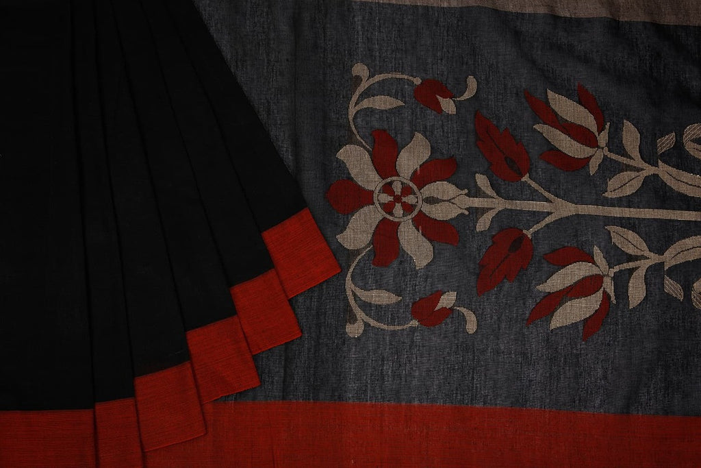 Bengal Cotton Black & Brown Saree With Ganga Jamuna