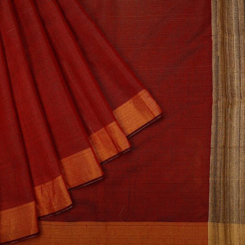Red Handloom Tussar Silk Handwoven Saree With  Border