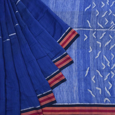Bengal Khadi Cotton  Royal Blue Saree With Jamdani Plain With Silver Stripe