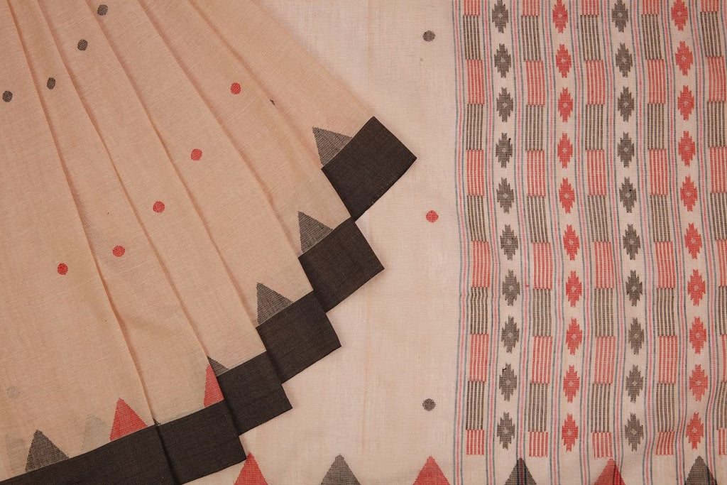 Bengal Cotton Beig Saree With Tample Par
