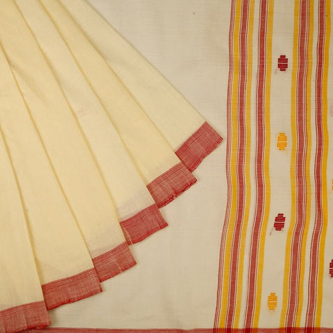 Assam Cotton Off White Saree