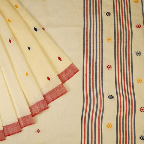 Assam Cotton Saree In Off White