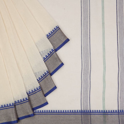 Bengal Cotton Off White Body Saree With Ganga Jamuna Blue And Green Border