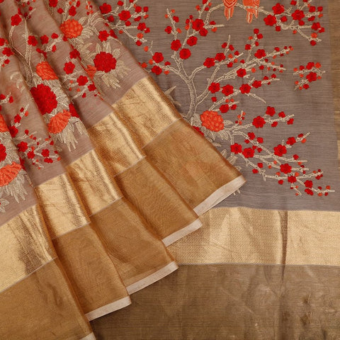 Handwoven Chanderi silk brown Saree With flowery embroidery parsi work
