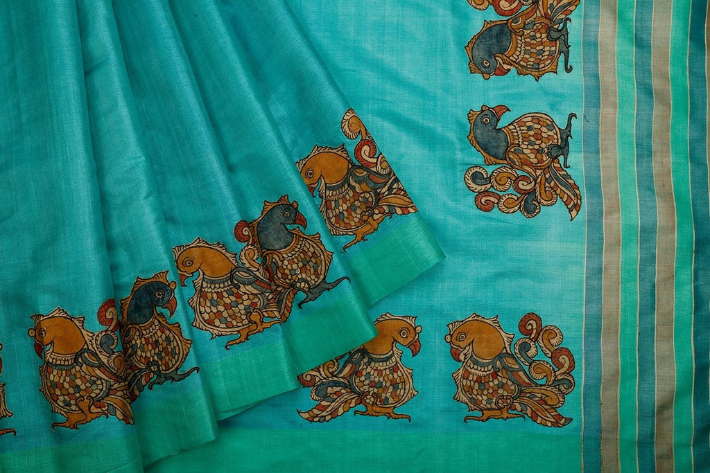 Tussar Silk Kalamkari Blue Saree