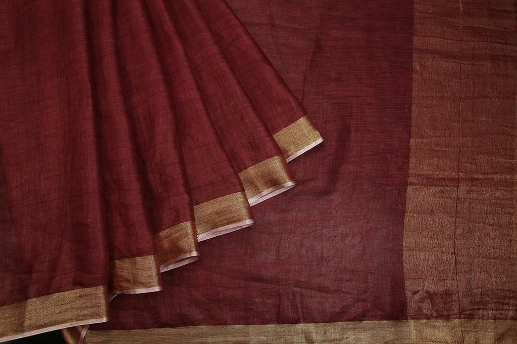 handwoven linen brown plain Saree