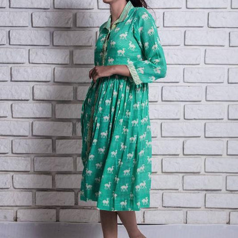 aquamarine green  linen dress