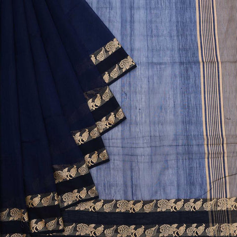 Bengal Khadi Cotton  Indigo Blue Saree With Jamdani Plain
