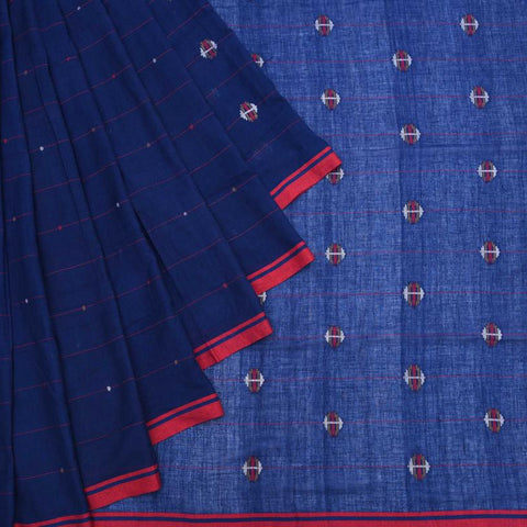 Bengal Khadi Cotton  Indigo Blue Saree With Jamdani Stripes With Multicolored Dots
