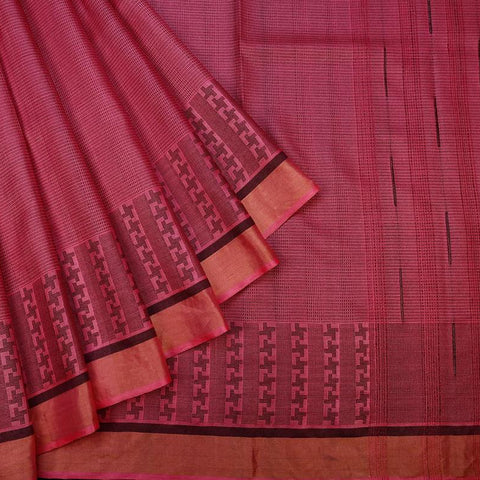 Pink Handloom Tussar Silk Handwoven Saree With  Border