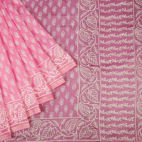 Chanderi Silk Cotton Baby Pink Saree With Floral Disign In White Pattern