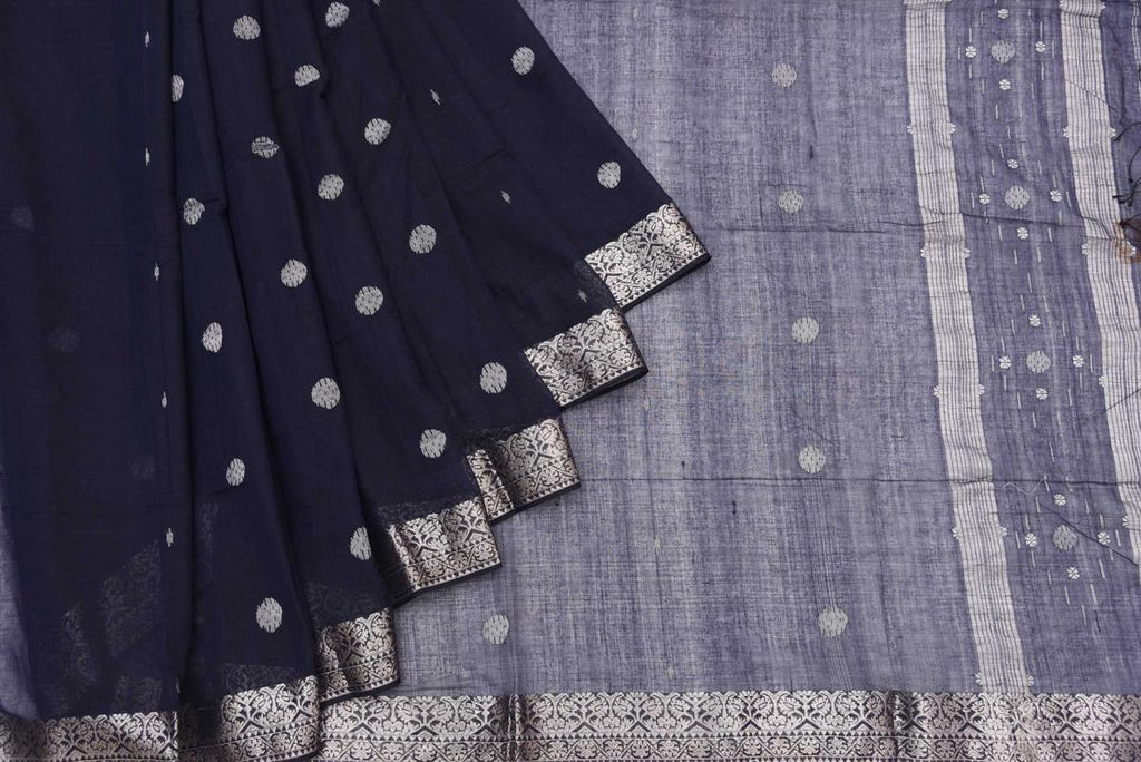Bengal Khadi Cotton  Blackish Blue Saree With Jamdani Silver Butti