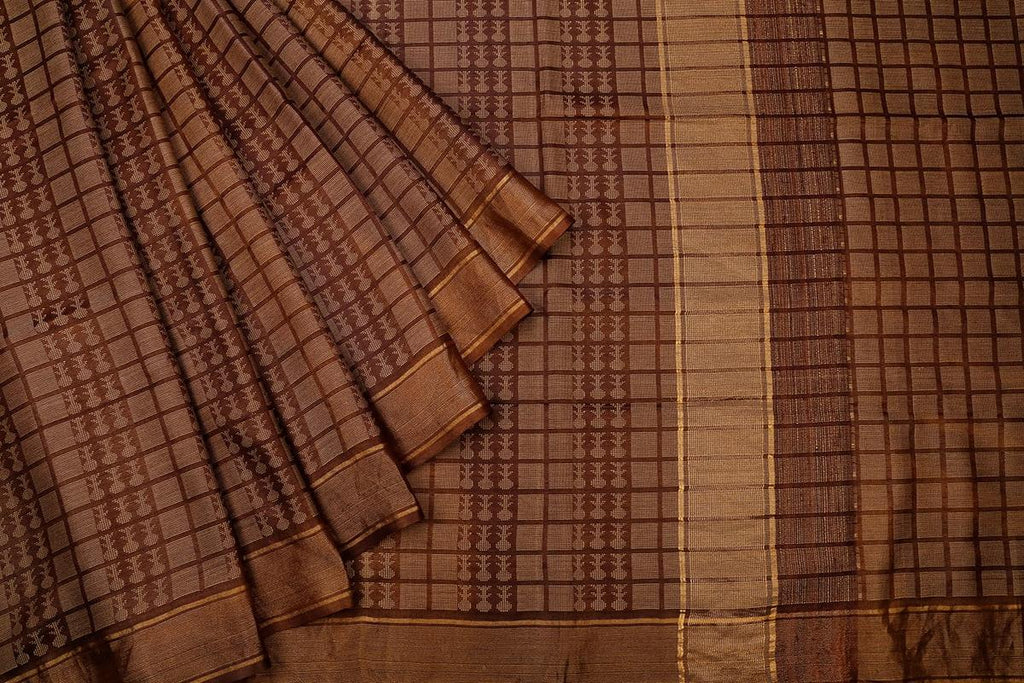 Brown Handloom Tussar Silk Handwoven Saree With  Border