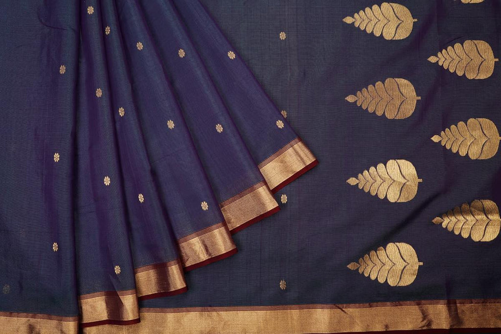 Chanderi silk by cotton dark blue leaf butta Saree
