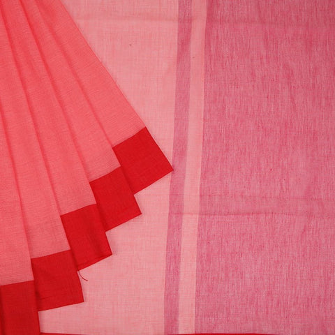Bengal Cotton Water Mellon Pink With Red Border Saree With Plain Red Border