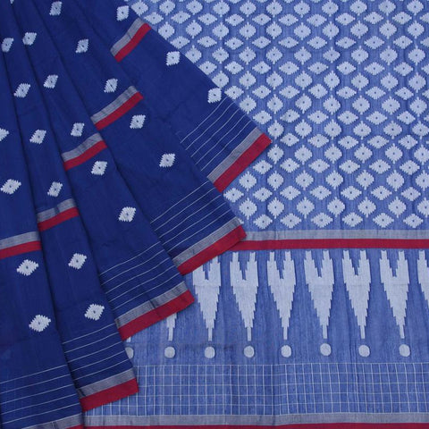 Bengal Khadi Cotton  Indigo Blue Saree With Jamdani White Diamond Butti