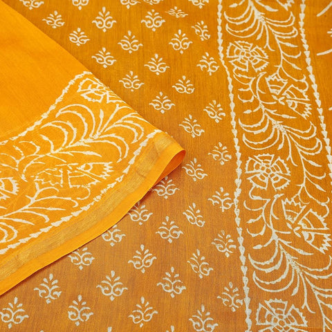 Chanderi Silk Cotton yellow saree with traditional design in white pattern