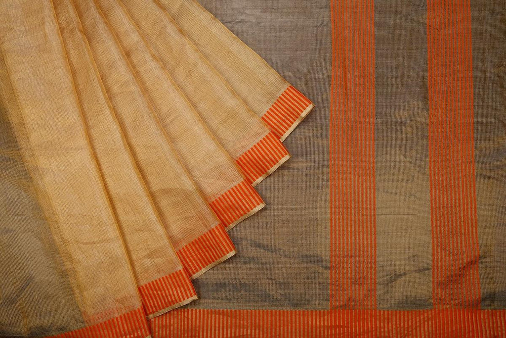 Honey Yellow Handloom Tussar Silk Handwoven Saree With  Border