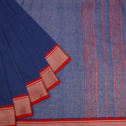 Bengal Cotton Royal Blue Body Saree With Beig & Red Broad Border