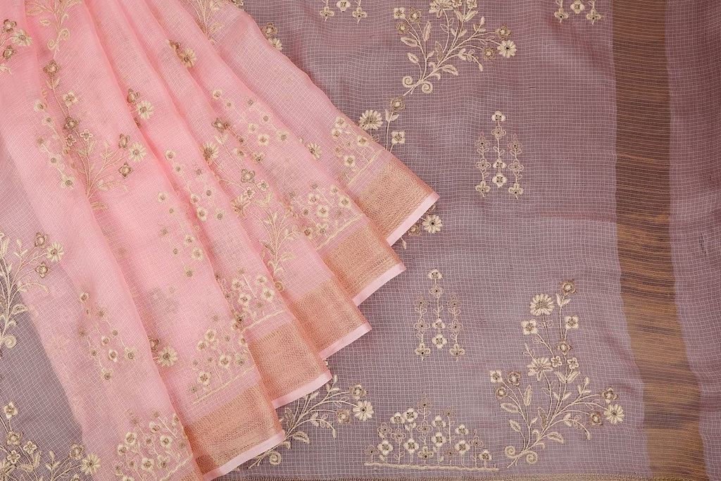 Handwoven Kota Silk Baby Pink Saree With Flowery Embroidery Parsi Work