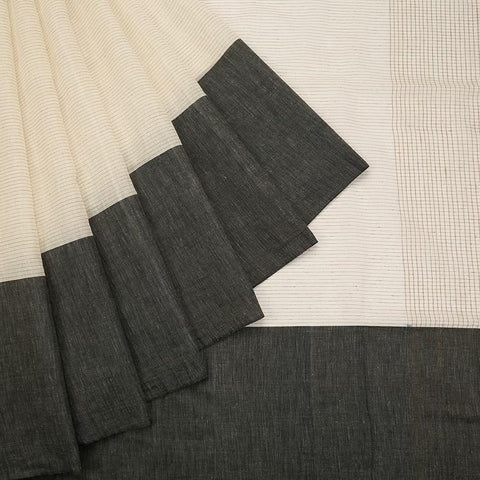 bengal handloom cotton off white Saree with plain broad black border