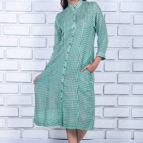 parakeet green  linen dress