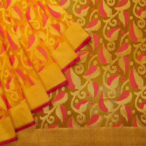 Orange Organza Silk Jamdani Weave Saree