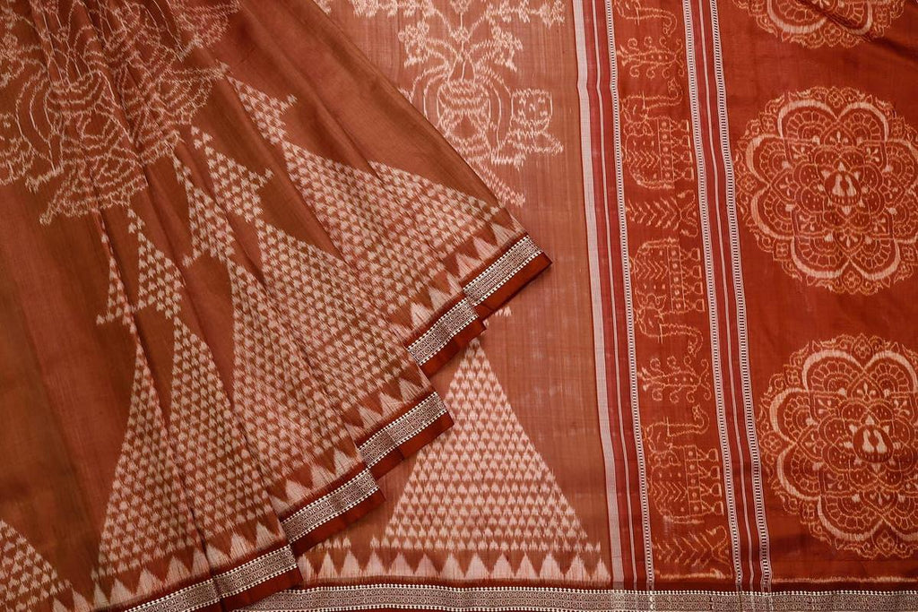 Orissa Silk Brown Saree With Temple Border