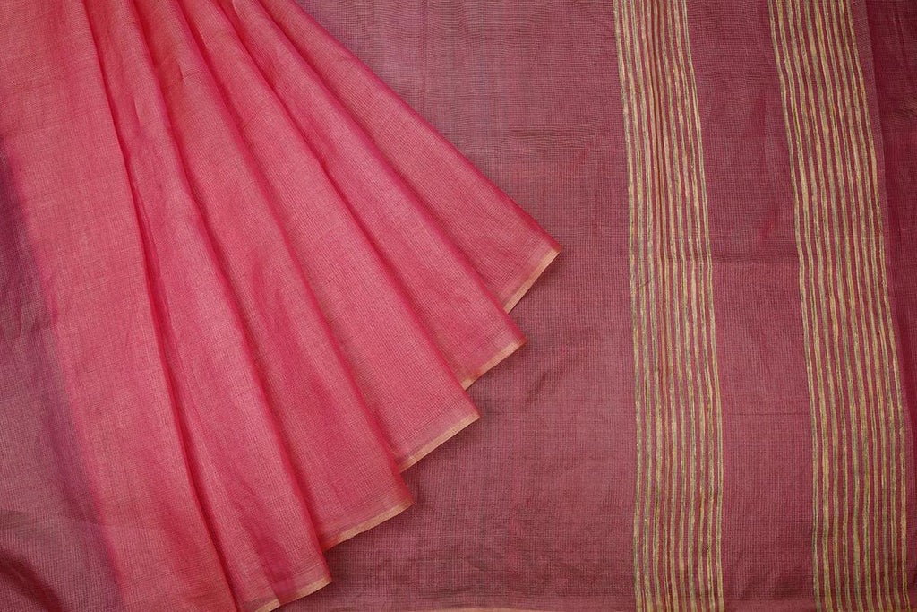 Baby Pink Handloom Tussar Silk Handwoven Saree With  Border