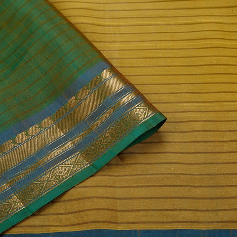 Gadwal  Handloom Cotton & Silk Saree In Yellow