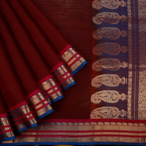 Gadwal  Handloom Cotton & Silk Saree In Maroon