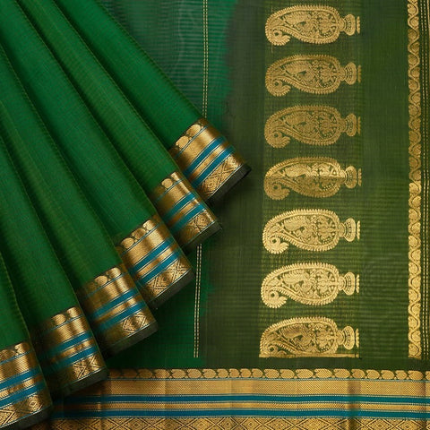 Gadwal  Handloom Cotton & Silk Saree In Green