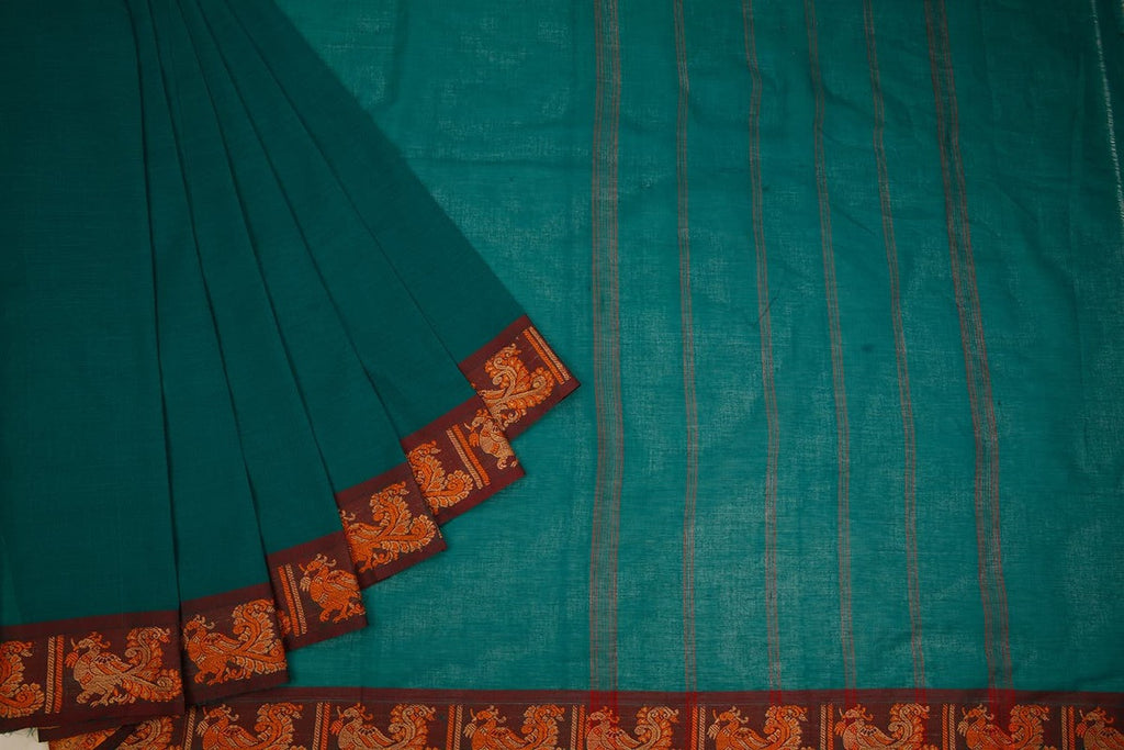 Chettinad Cotton Dark Pine Green Saree With Annapakshi Border