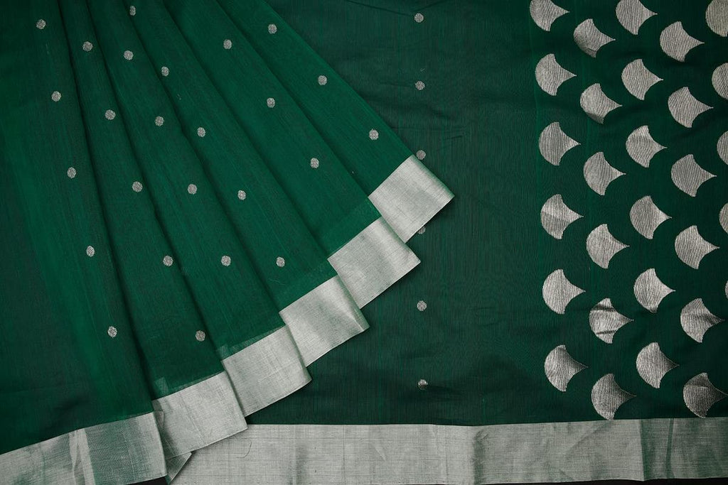 chanderi silk by Cotton dark green zari coin butti Saree