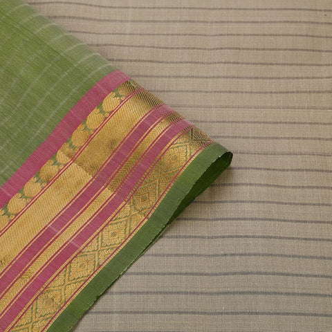 Gadwal  Handloom Cotton & Silk Saree In Off White