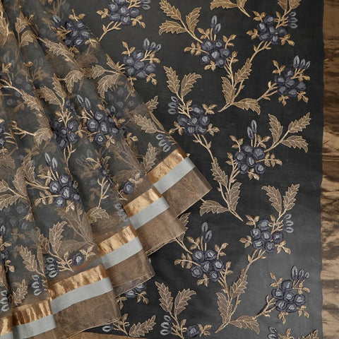 Handwoven organza silk grey Saree With Jangla embroidery parsi work