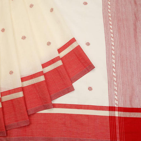 bengal jamdani cotton off white Saree with plain red border
