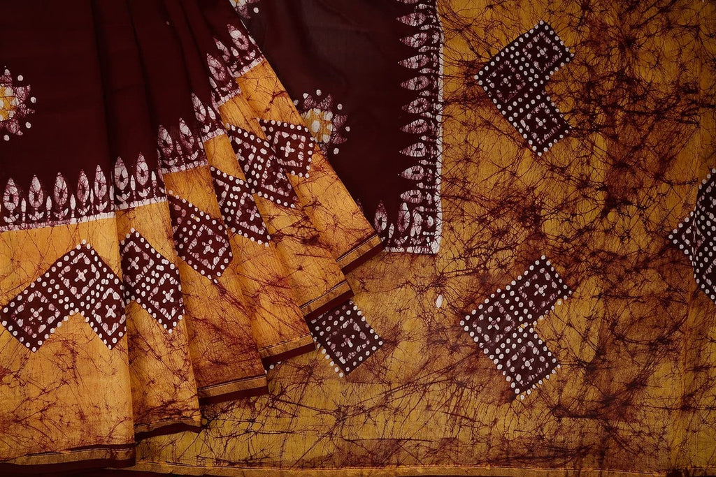 Chanderi Silk Cotton Brown Saree With Plain Body With Shibori Pattern Floral Design Pattern