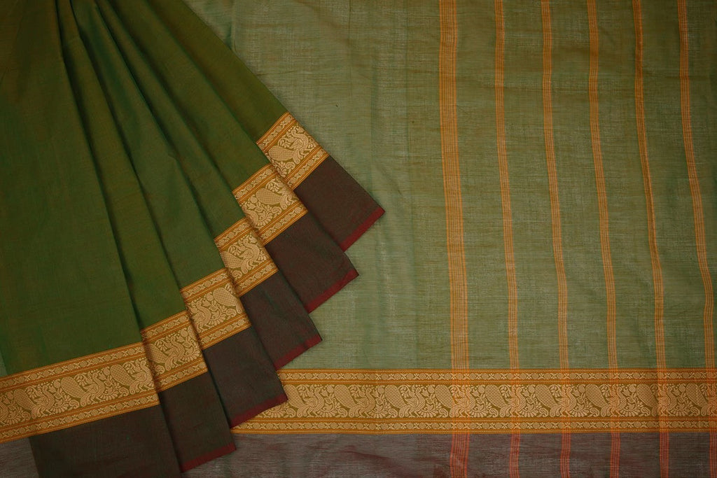 Chettinad Cotton Dark Moss Saree With Annapakshi Border
