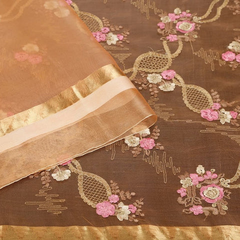 Handwoven Organza Silk Orange Saree With Flowery Embroidery Parsi Work