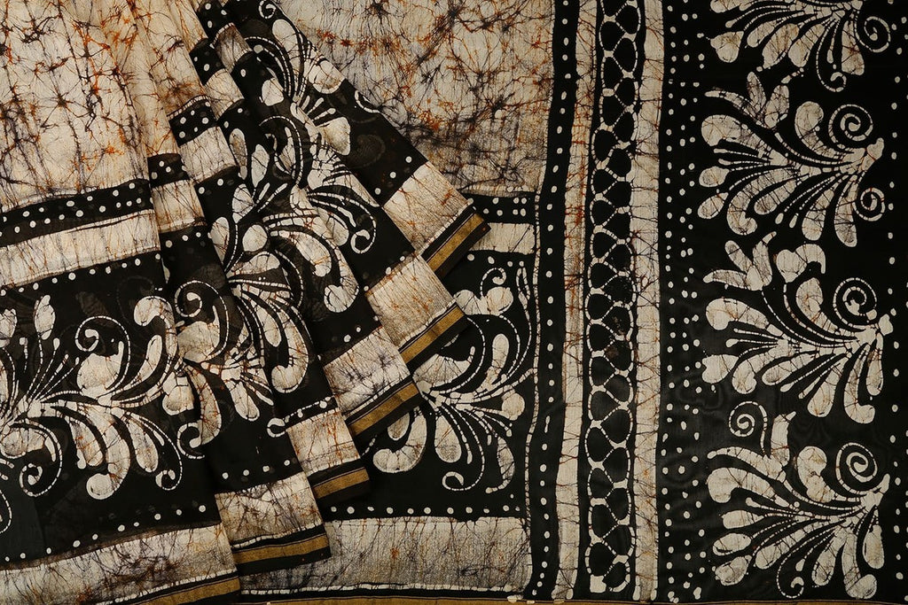 Chanderi Silk Cotton Brown Saree With Batik Print Pattern