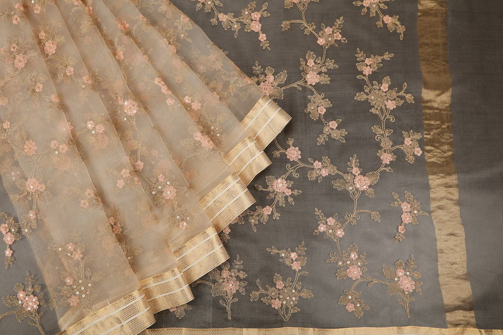 Handwoven Organza Silk Beige Saree With Jangla Embroidery Parsi Work