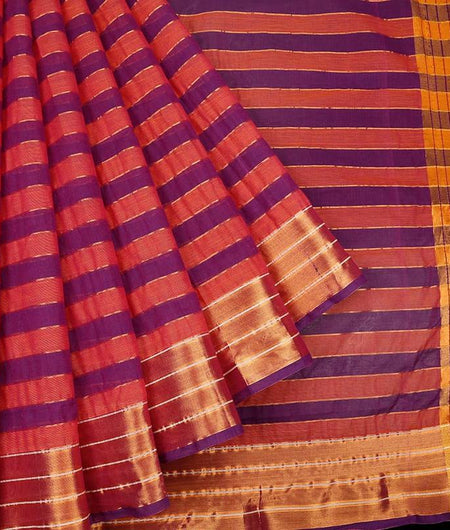 Pink And Purple Handloom Cotton Saree With Zari Stripe Border With Purple Outline
