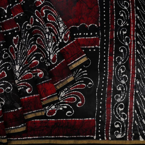 Chanderi Silk Cotton Maroon Saree With Handblock Design In Black And White Pattern