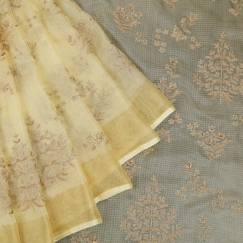 Handwoven Kota silk light yellow Saree With tree embroidery parsi work