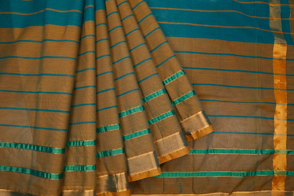 Blue And Olive Green Handloom Cotton Saree With Plain Zari Border