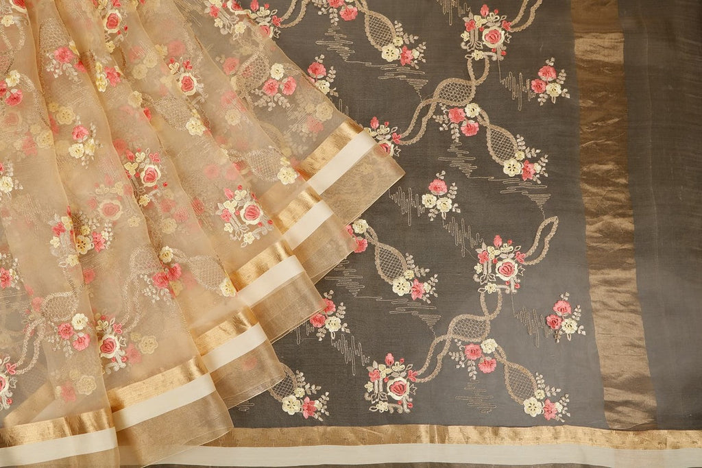 Handwoven Organza Silk Cream Saree With Flowery Embroidery With Stripes Border