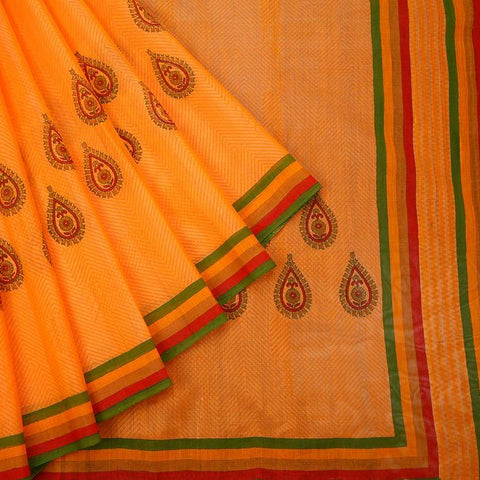 Handloom Block Printed Cotton	Silk Dark	Orange Saree