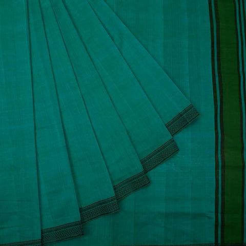 Sea Blue Handloom Cotton Saree With Black Weaving Jaal Pattern Border
