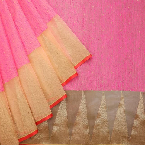 Magenta Pink And Peach Organza Silk Zari Work Saree